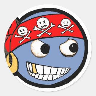 smilie pirate classic round sticker