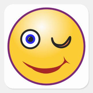 Smilie Zwinkern smiley twinkle Square Sticker