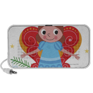 Smiling angel with halo and butterfly wings, mp3 speakers