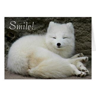 Smiling Arctic Fox Birthday Card
