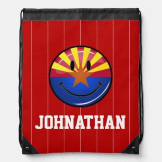 Smiling Arizona Flag Drawstring Bag