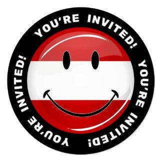 Smiling Austrian Flag 13 Cm X 13 Cm Square Invitation Card