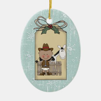 Smiling Baby Boy Cowboy Pony 2-Sided Gift Tag Ceramic Oval Decoration