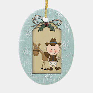 Smiling Baby Boy Cowboy Pony 2-Sided Gift Tag Christmas Tree Ornaments