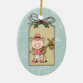 Smiling Baby Girl Cowgirl Pony 2-Sided Gift Tag Christmas Ornaments