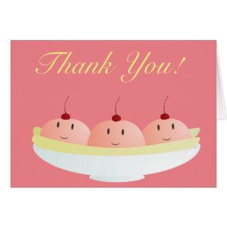 Smiling banana split thank you card