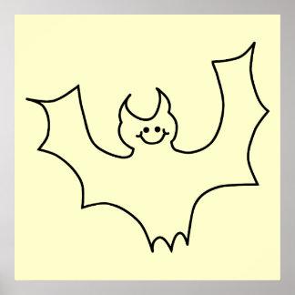 Smiling Bat. Black line illustration. Posters
