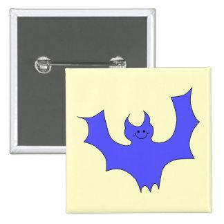 Smiling Bat Blue Cartoon Button