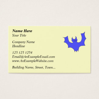 Smiling Bat. Blue Cartoon Business Card
