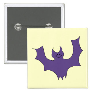 Smiling Bat Dark Purple Pinback Buttons