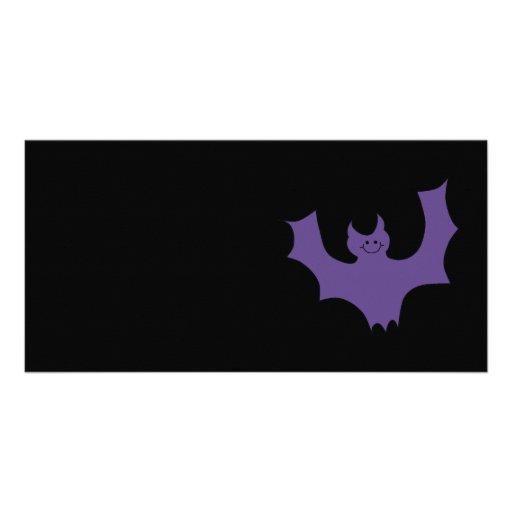Smiling Bat. Dark Purple. Photo Card Template