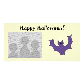 Smiling Bat. Dark Purple. Personalized Photo Card