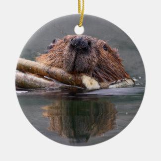 smiling beaver ceramic ornament