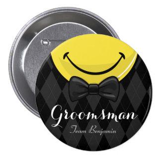 Smiling Best Man/ Groomsman Wedding Button