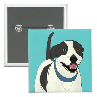 Smiling Black and White Dog - Line Art Pinback Buttons