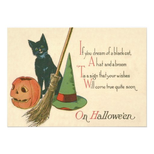 Smiling Black Cat Jack O Lantern Witch's Hat Broom Personalized Announcement
