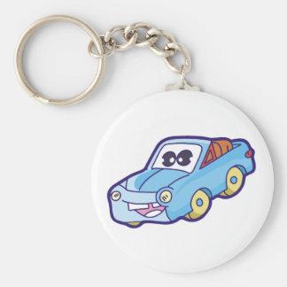 Smiling Blue Car Basic Round Button Key Ring