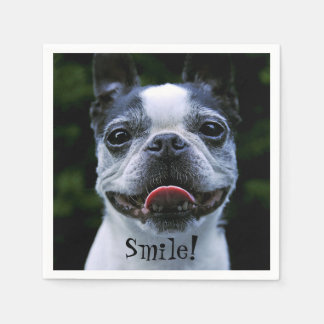 Smiling Boston Terrier Disposable Serviette