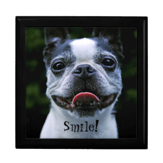 Smiling Boston Terrier Large Square Gift Box