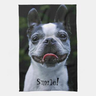 Smiling Boston Terrier Tea Towel