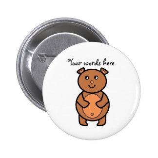 Smiling brown bear 6 cm round badge