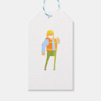 Smiling Builder Showing Thumbs Up On Construction Gift Tags