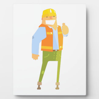 Smiling Builder Showing Thumbs Up On Construction Plaque