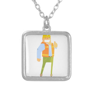 Smiling Builder Showing Thumbs Up On Construction Silver Plated Necklace