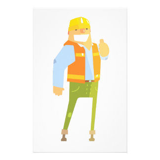 Smiling Builder Showing Thumbs Up On Construction Stationery