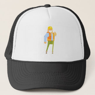 Smiling Builder Showing Thumbs Up On Construction Trucker Hat