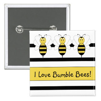 Smiling Bumble Bee Customizable Button