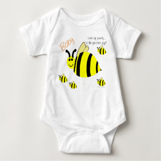 Smiling Bumble Bees Baby Hospital Name Baby Bodysuit