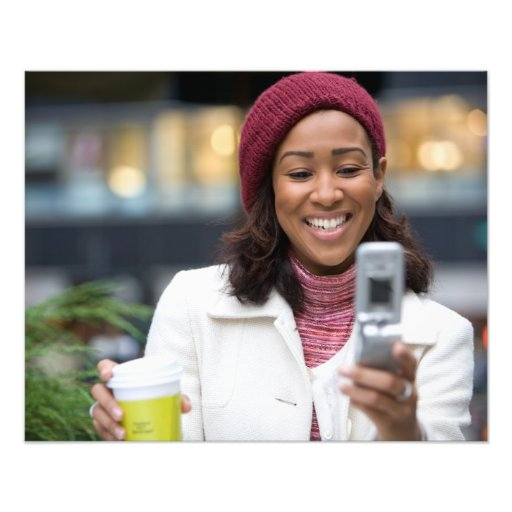 Smiling Business Woman with Cell Phone Photo Art