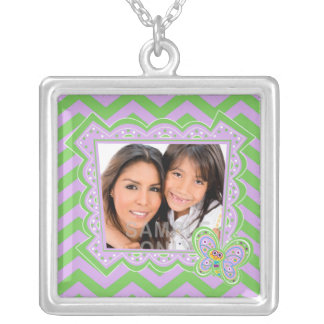Smiling Butterfly and Zigzags Silver Plated Necklace