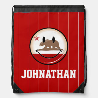 Smiling California Flag Drawstring Bag