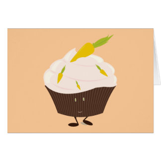 Smiling carrot cake cupcake card