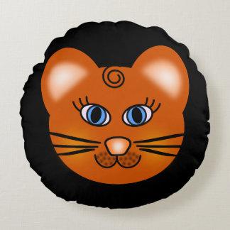 Smiling Cartoon Cat Round Cushion