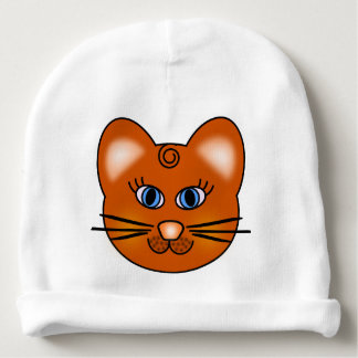 Smiling Cartoon Cat with Blue Eyes Baby Beanie