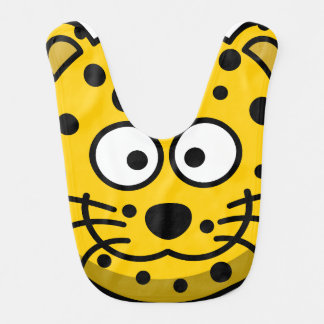Smiling Cartoon Cheetah Bib