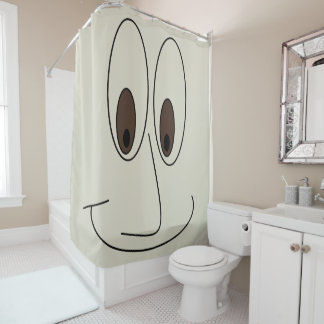 Smiling Cartoon Face with Big Eyes Fun Shower Curtain