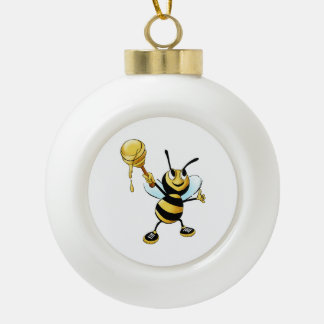 Smiling Cartoon Honey Bee Holding up Dipper Ceramic Ball Decoration