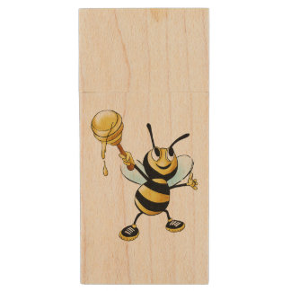 Smiling Cartoon Honey Bee Holding up Dipper Wood USB 2.0 Flash Drive