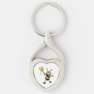 Smiling Cartoon Honey Bee Holding up Dipper Keychain