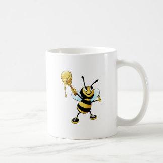 Smiling Cartoon Honey Bee Holding up Dipper Coffee Mug
