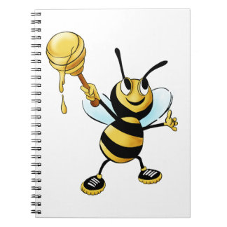 Smiling Cartoon Honey Bee Holding up Dipper Spiral Note Books