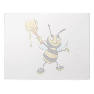 Smiling Cartoon Honey Bee Holding up Dipper Scratch Pads