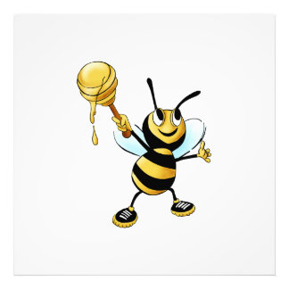 Smiling Cartoon Honey Bee Holding up Dipper Photo Art
