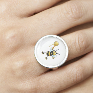Smiling Cartoon Honey Bee Holding up Dipper Photo Ring