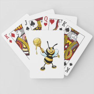 Smiling Cartoon Honey Bee Holding up Dipper Playing Cards