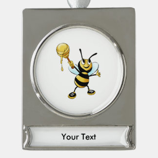 Smiling Cartoon Honey Bee Holding up Dipper Silver Plated Banner Ornament